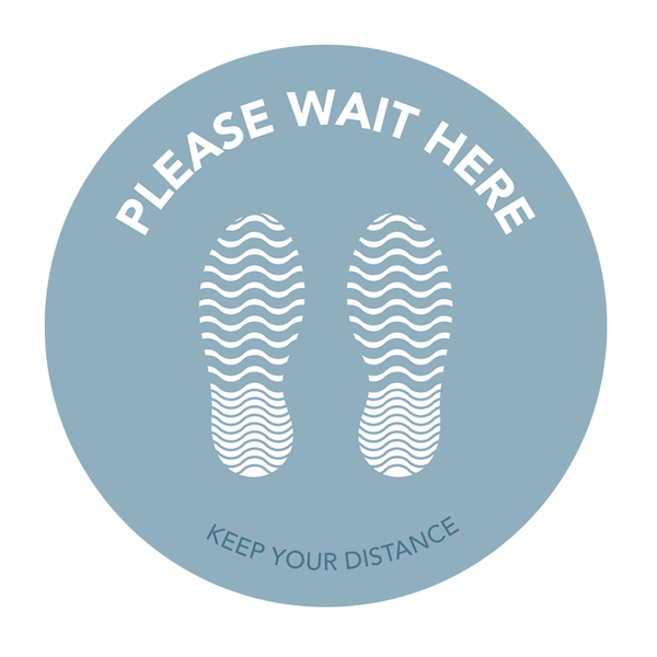 "Grey floor stickers - ""Please wait here"""