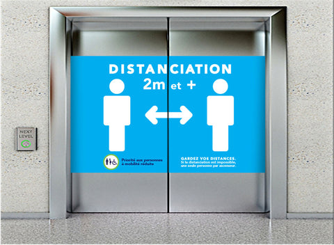 Autocollants pour Portes d'ascenseur «Distanciation sociale»