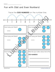 Odd vs Even worksheets making math visual for students with autism, dyslexia, dyscalculia, or learning disabilities.