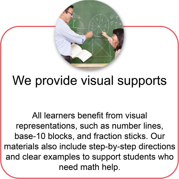 Our math worksheets have visual supports to help students learn math.