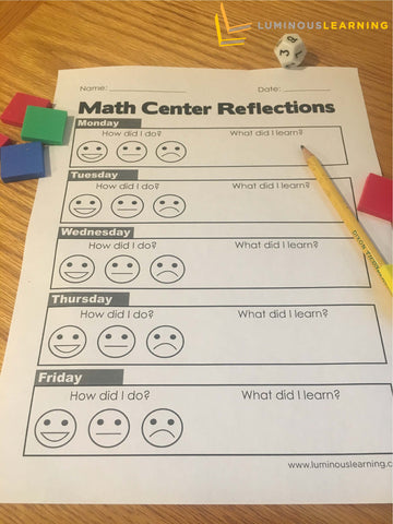 free math center reflection sheet for students with dyscalculia