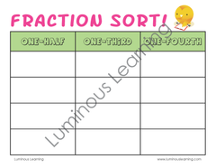 Grades 2 - 3 Fraction Sorting Activity