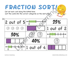 Grades 4 - 5 Decimal, Fraction, and Percent Sorting Activity