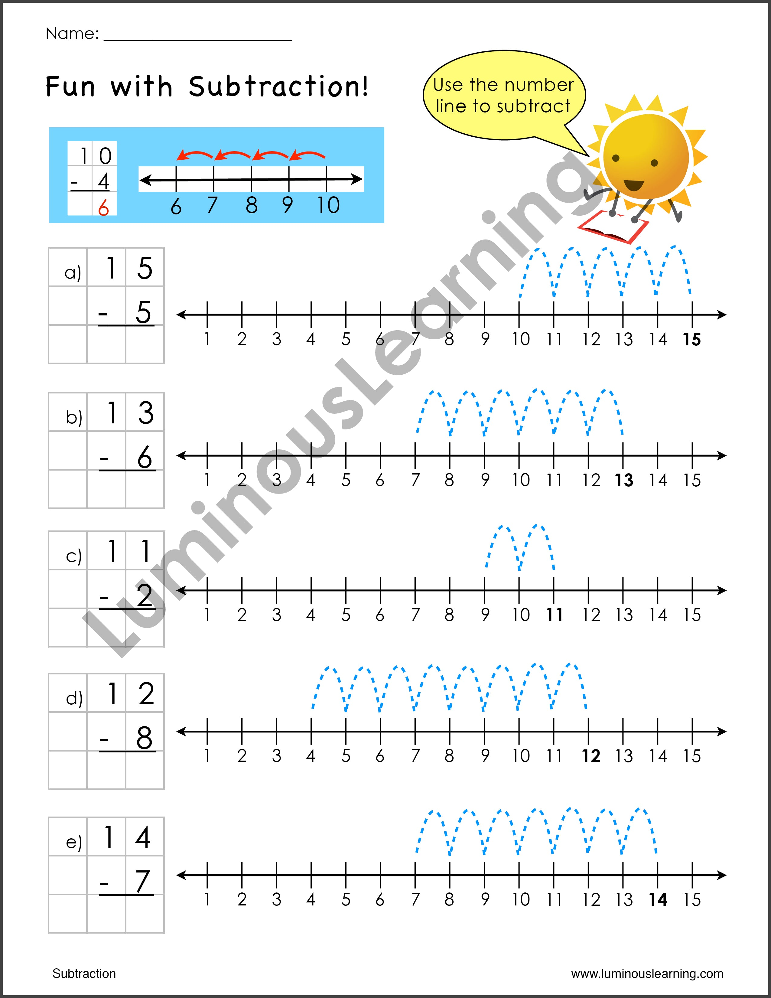 Subtraction Worksheets For Special Education K And Grade 1