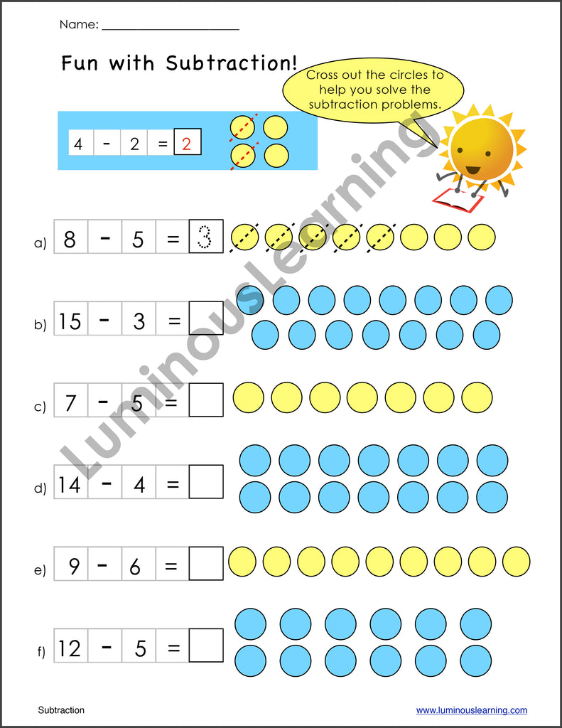 Subtraction Worksheets for Special Education - K and Grade 1