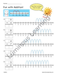 first grade math addition and subtraction worksheets with number lines for learning disabilities