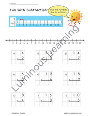 1st grade math worksheets adding and subtracting practice with number line