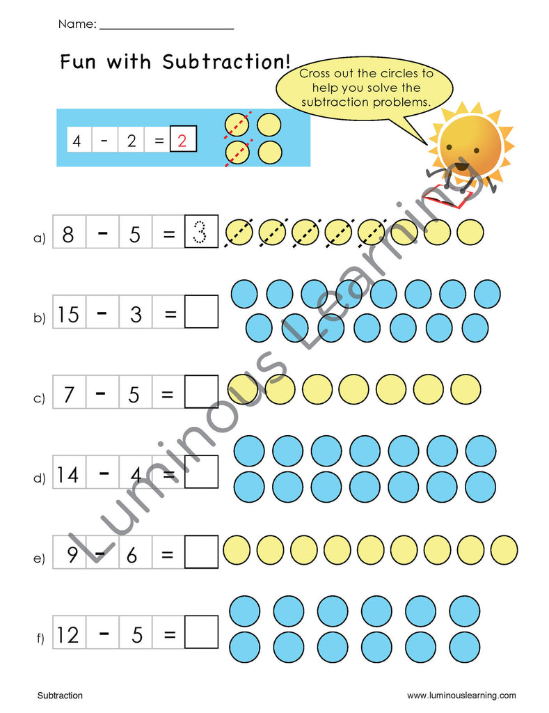 Worksheet Dyslexia With Math grade 1 addition and subtraction e workbook making math visual first worksheets for students with dyslexia