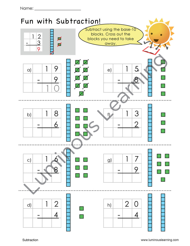 Grade 1 Addition and Subtraction eWorkbook Making Math Visual – Base 10 Addition Worksheets