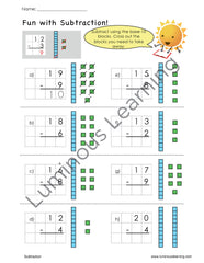first grade addition and subtraction worksheets with base-10 blocks and graph paper