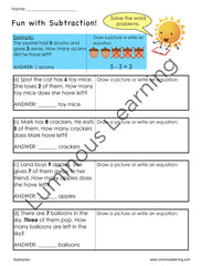 grade 1 addition and subtraction word problems for special education students