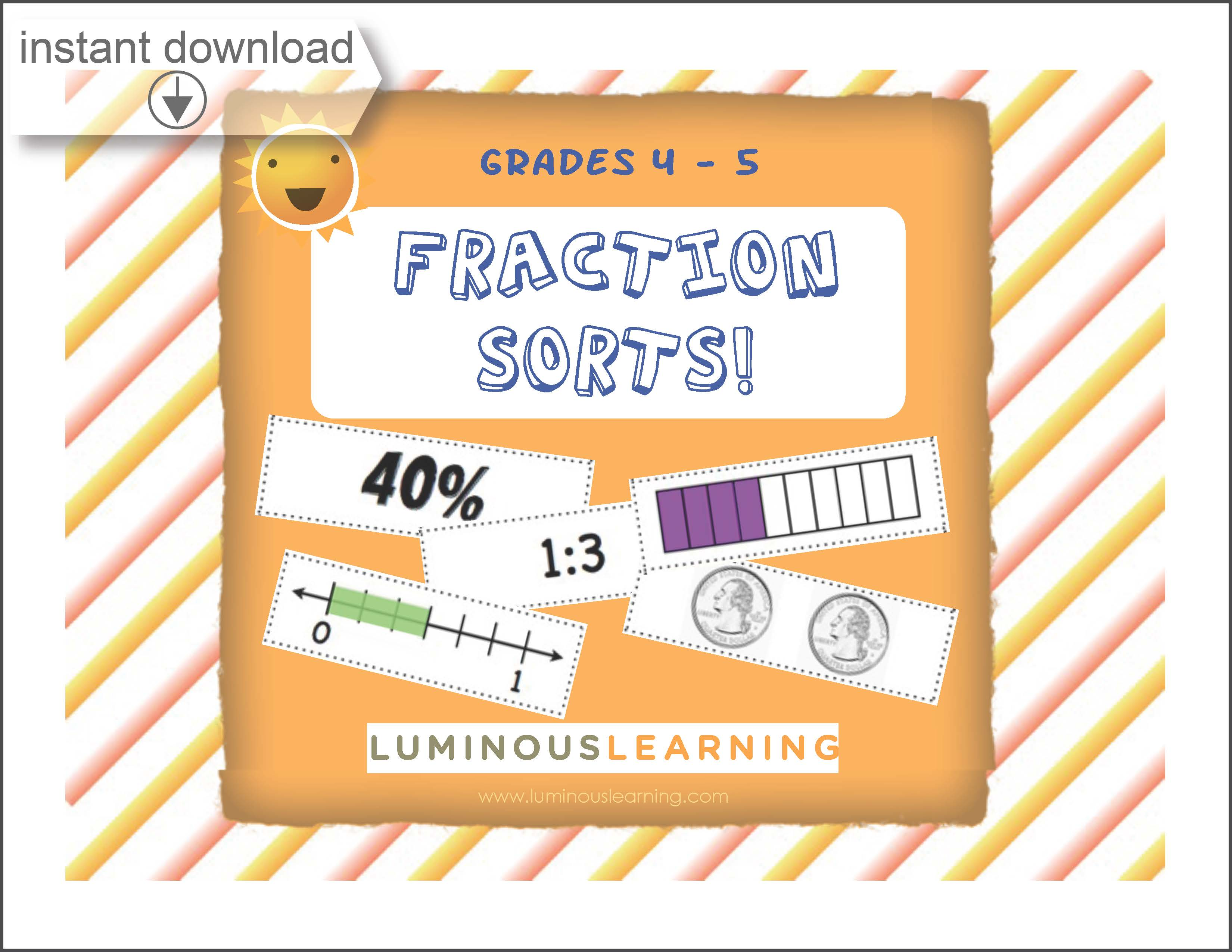 Grades 4 - 5 Decimal, Fraction, and Percent Sorting: Printable Activit   Luminous Learning