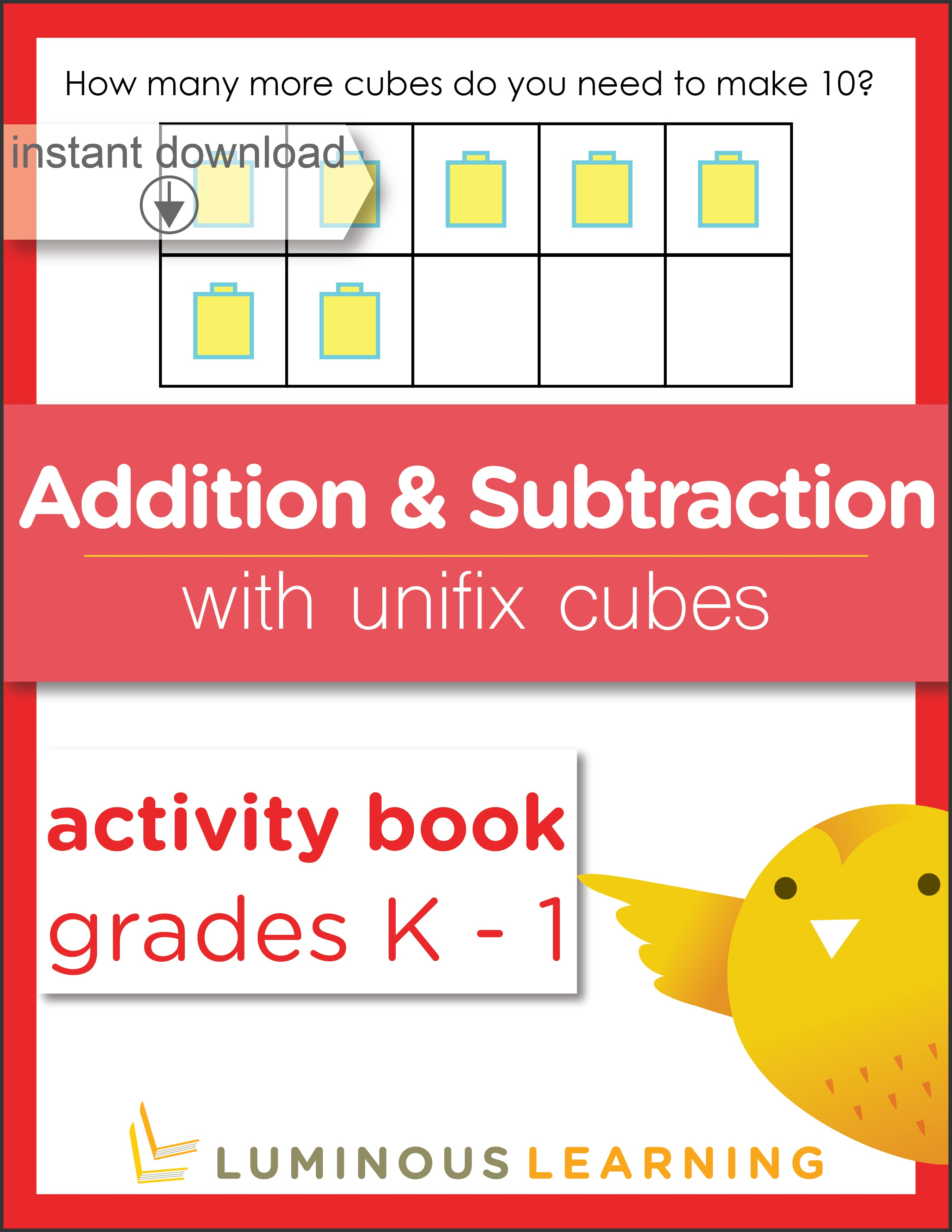 image relating to Math Fact Fluency Games Printable referred to as Grades K - 1 Addition and Subtraction with Unifix Cubes: Printable Math Pursuits