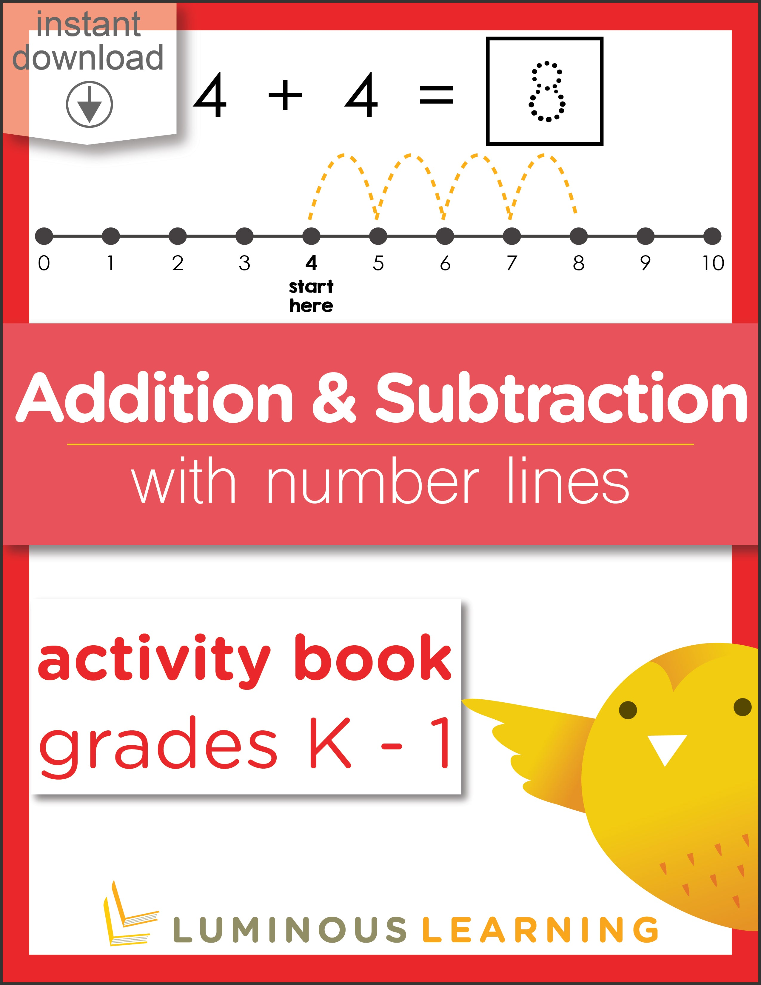 picture relating to Printable Numberline identified as Grades K - 1 Addition and Subtraction with Quantity Traces: Printable Math Actions