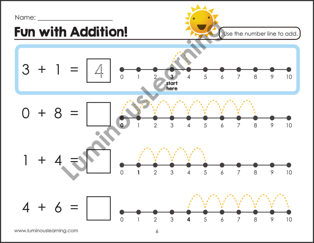 Addition Subtraction Games W Number Lines Special Ed