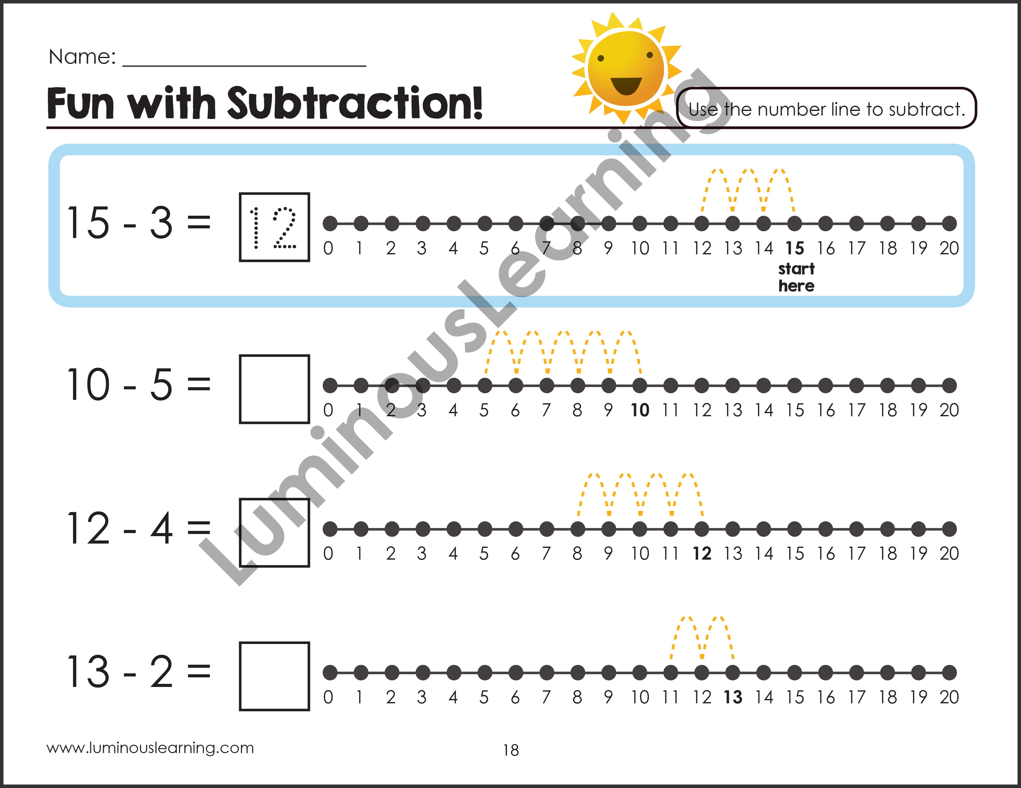 image relating to Printable Number Lines to 20 known as Grades K - 1 Addition and Subtraction with Selection Strains: Printable Math Actions