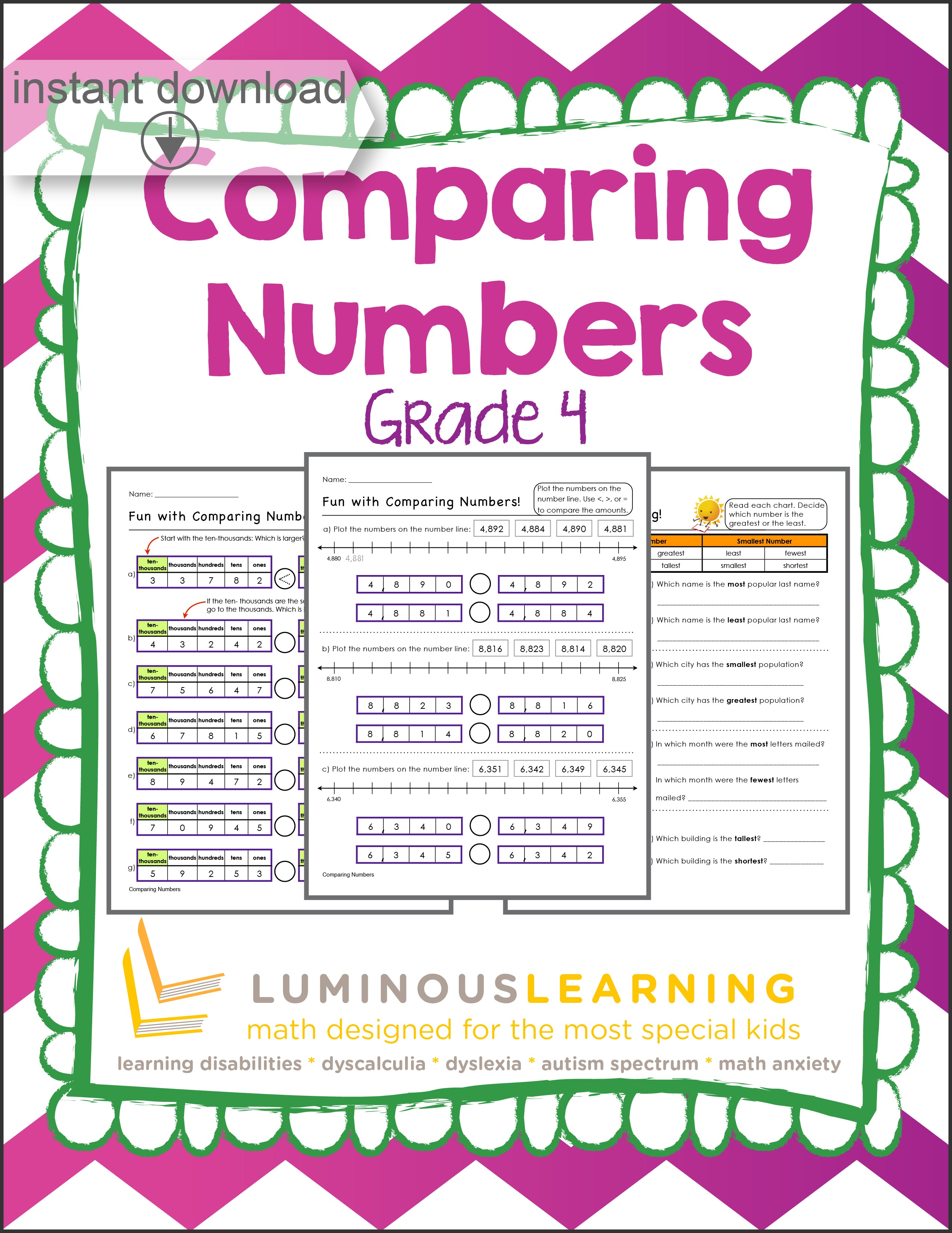 Grades 4-5 math worksheets, games, & activities for special education