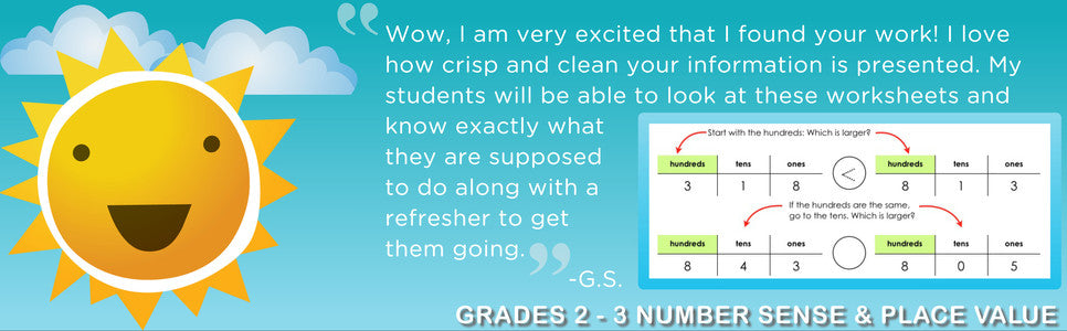"""Wow, I'm very excited that I found your work! I love how crisp and clean your information is presented. My students will be able to look at these worksheets and know exactly what they are supposed to do along with a refresher to get them going."" - Grade 2 Number Sense and Place Value"
