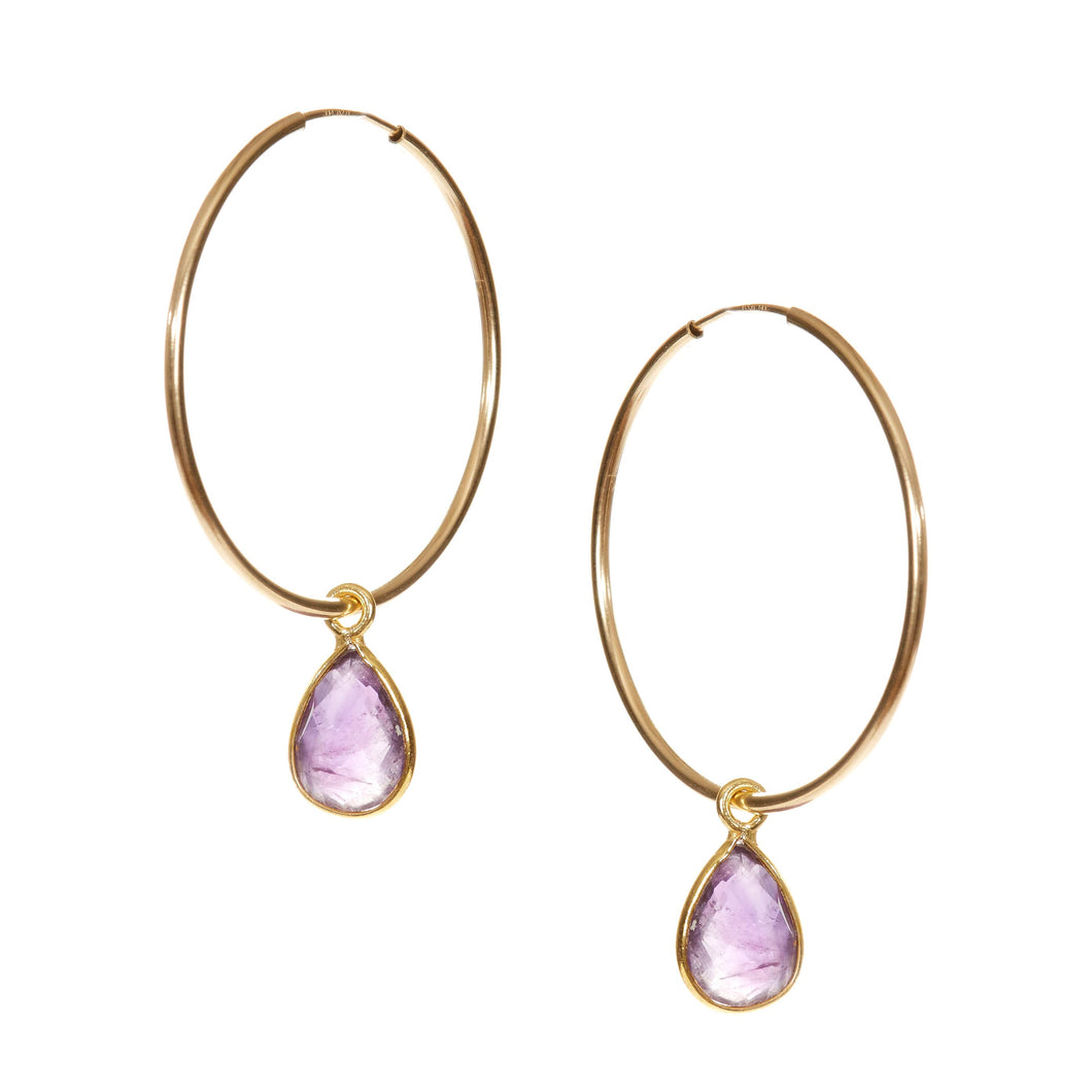 Amethyst Earrings/Simple Earrings/Hoops/Minimalist