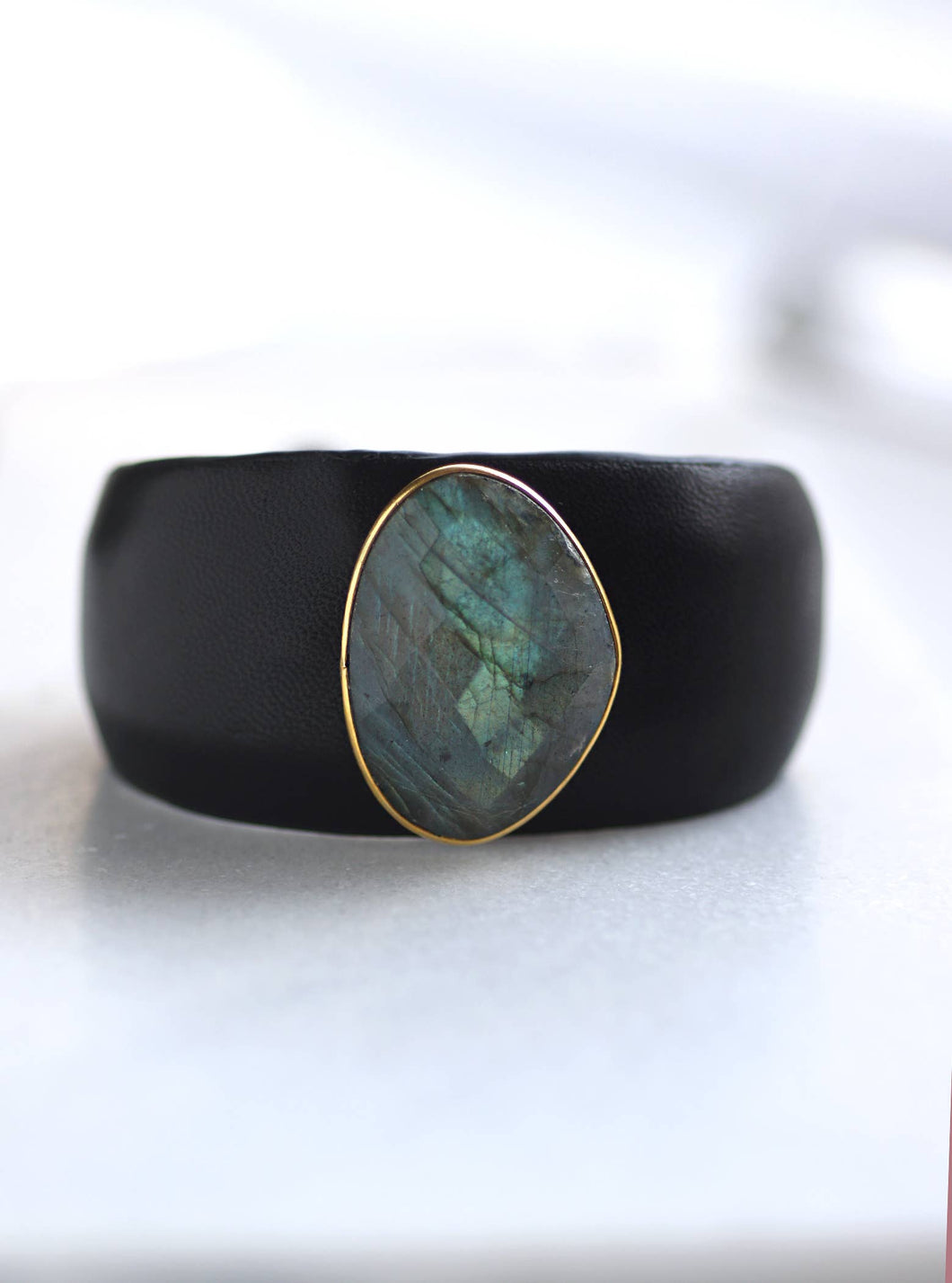 Adjustable Leather Cuff With Labradorite