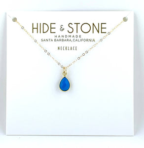 Turquoise Teardrop Necklace by Hide & Stone Jewelry