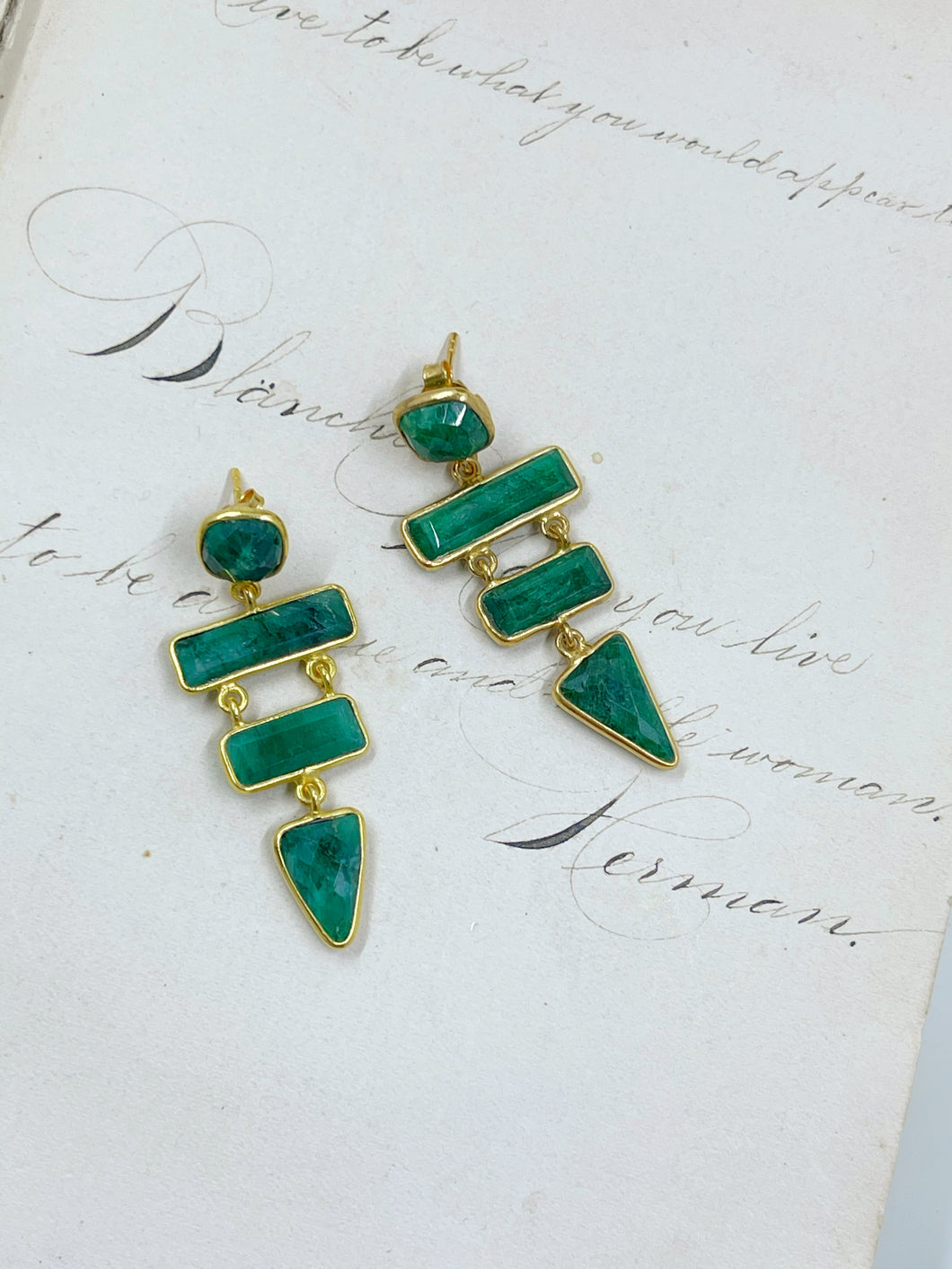 Emerald 4-Stone Earrings