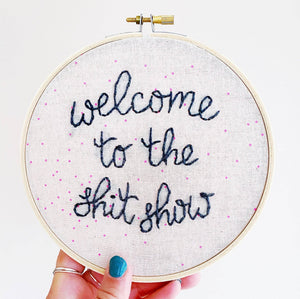 Shit Show Embroidery - Pattern Fabric