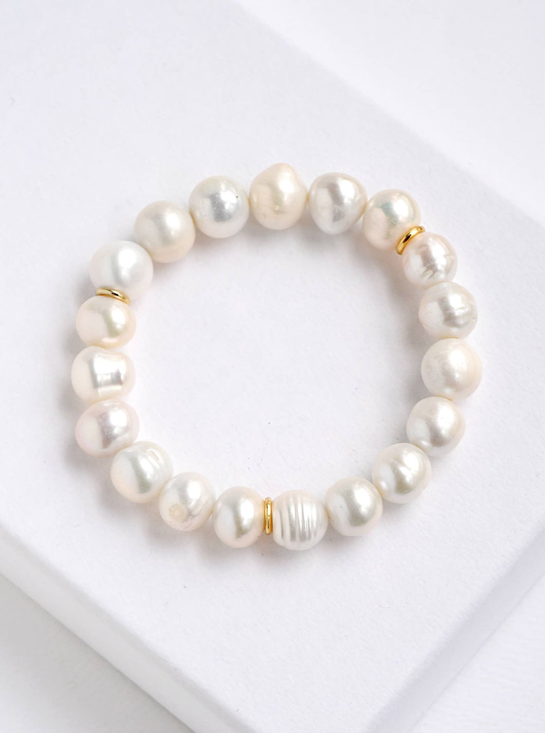 Natural Stone Stretchable Beaded Bracelet - Pearl