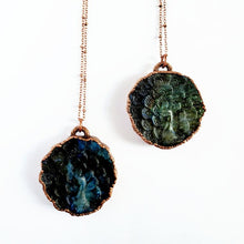 Load image into Gallery viewer, Carved Labradorite Peacock Necklace