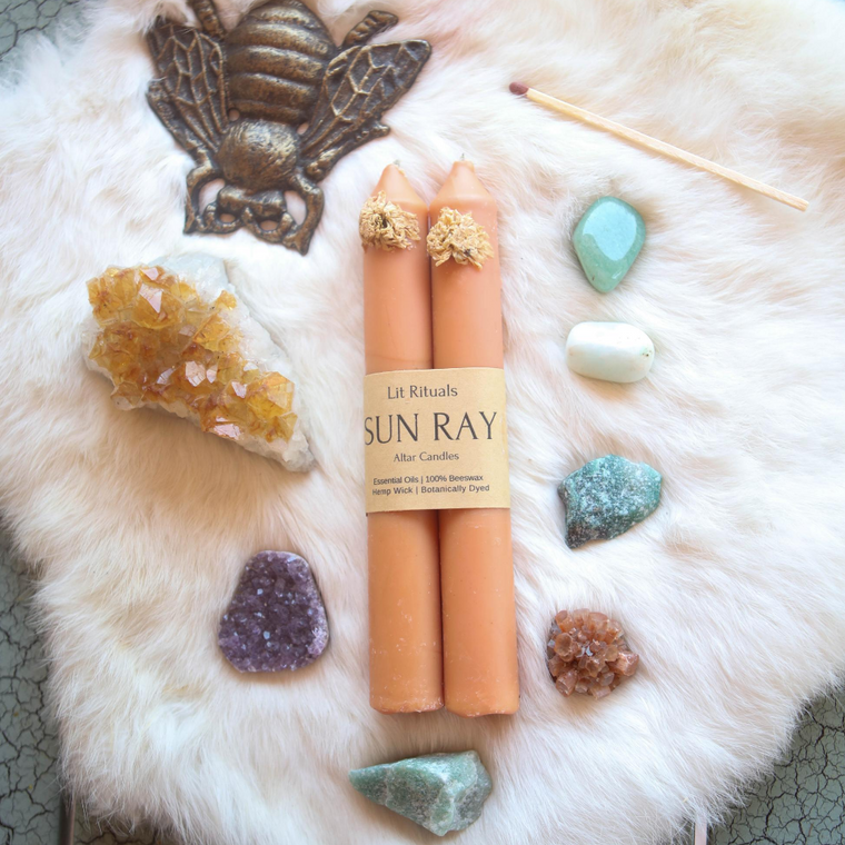 Sun Ray' Beeswax Altar Candles - Large