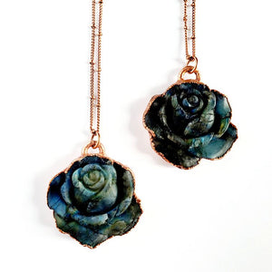 Carved Labradorite Rose Necklace
