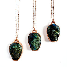 Load image into Gallery viewer, Carved Labradorite Skull Necklace