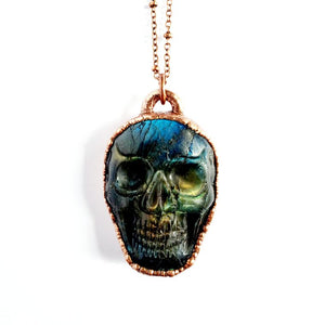 Carved Labradorite Skull Necklace