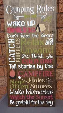CAMP RULES SIGN