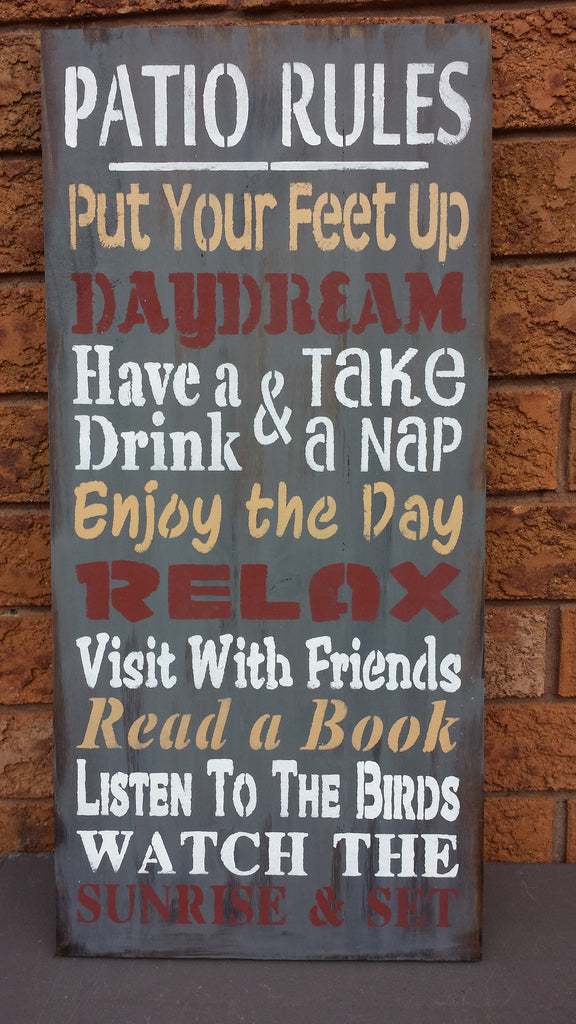 PATIO RULES SIGN