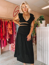 Load image into Gallery viewer, Suboo - Alva Rouched Cut Out Maxi Black (8/10)