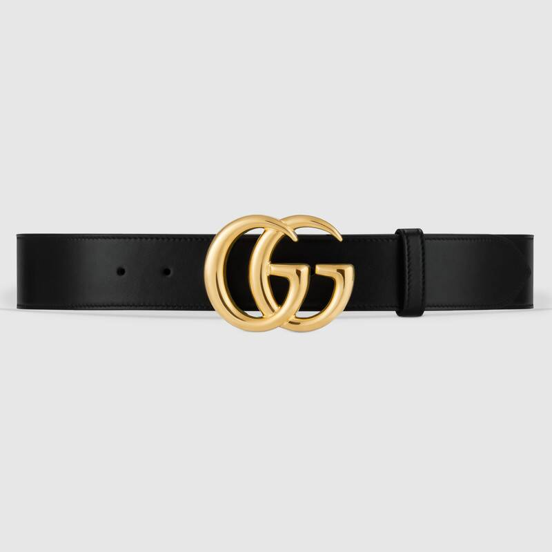 Gucci Black Leather Belt Double G