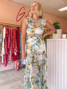 Alice McCall - Oh So Lovely Sunset Yellow Floral Midi (Size 8/10)