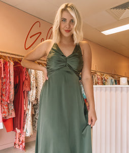 Zimmermann - Olive Silk Ruched Picnic Dress (Size 2)