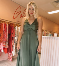 Load image into Gallery viewer, Zimmermann - Olive Silk Ruched Picnic Dress (Size 2)