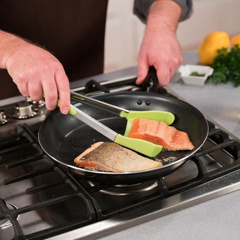 2-In-1 Non-Stick Clever Tongs