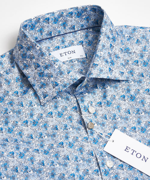 FLORAL PRINT SHIRT SLIM / BLUE