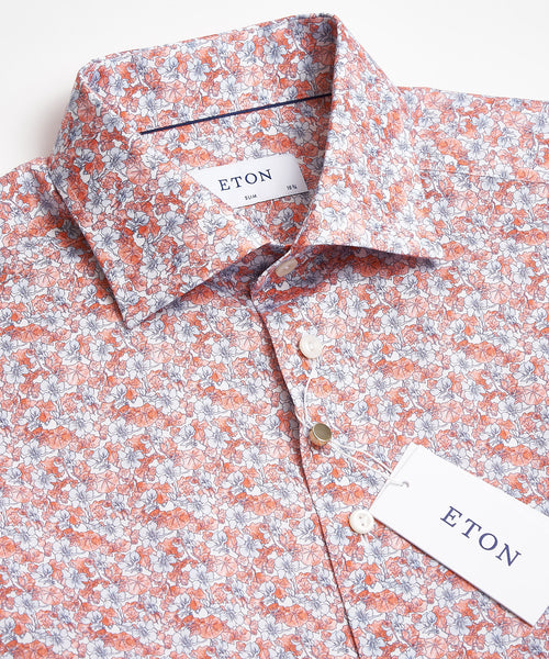 FLORAL PRINT SHIRT SLIM / RED