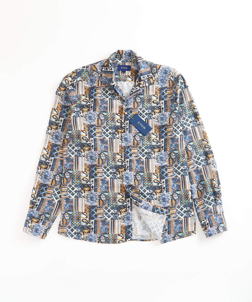 PATCH WORK LINEN PRINT RELAXED / MULTI