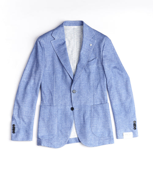 JERSEY PRINT SOFT JACKET / LIGHT BLUE