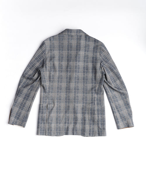 PRINTED PLAID LASERCUT SPORT JACKET / NAVY