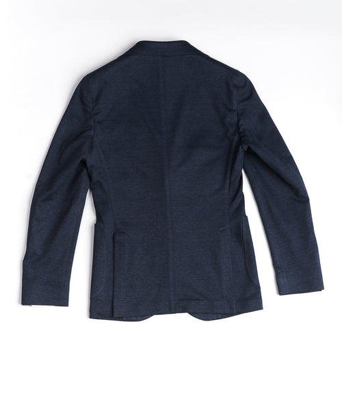 COTTON/LINEN STRETCH PIQUE BLAZER / NAVY