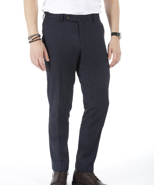 TECH COTTON HERRINGBONE PANT / NAVY