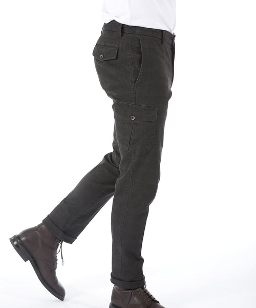 COTTON CHECK FLAT CARGO PANT / BROWN