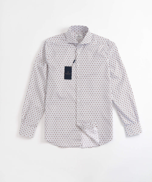 NEAT FLOWER PRINT MODERN FIT SHIRT / RED